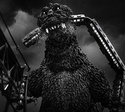 Image result for photo godzilla with train