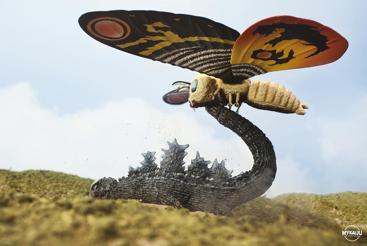 Mothra vs Godzilla By the Tail