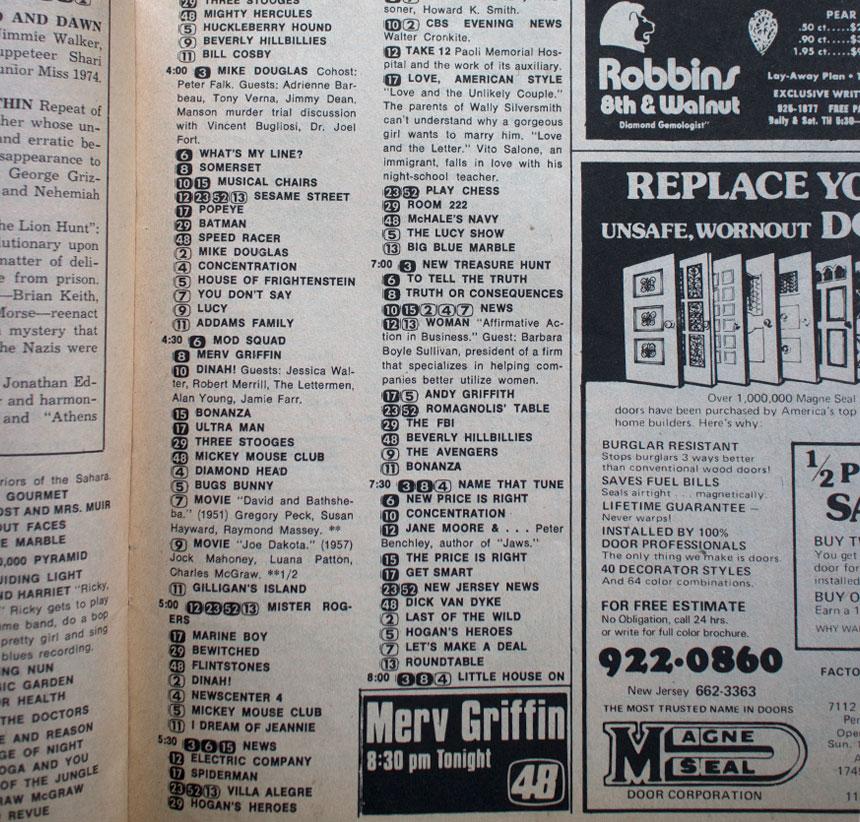 Philly Inquirer TV Week featuring Ben Vereen 1975 inside