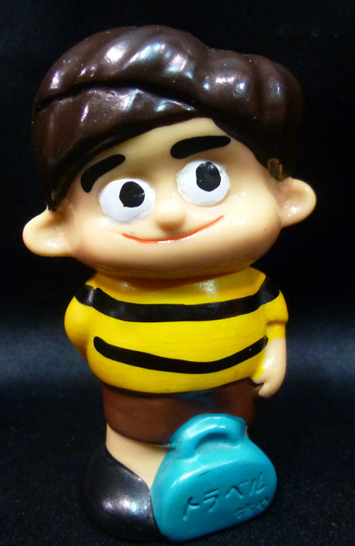 Eisai Travelmin Boy Travelmin piggy bank with black yellow striped pattern (8cm)