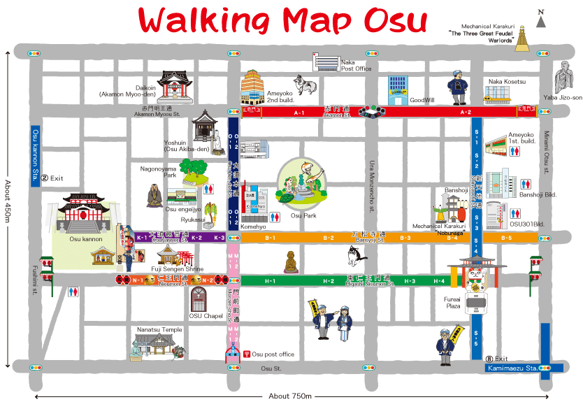 Walking Map of Osu Kannon